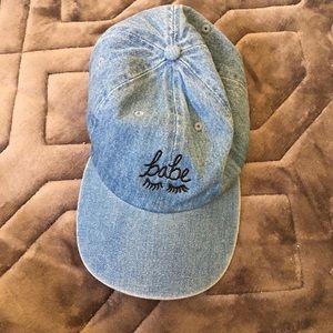 babe embroidered denim hat